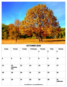 october 2020 calendar with holidays c