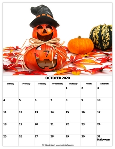 october calendar 2020 with holidays c