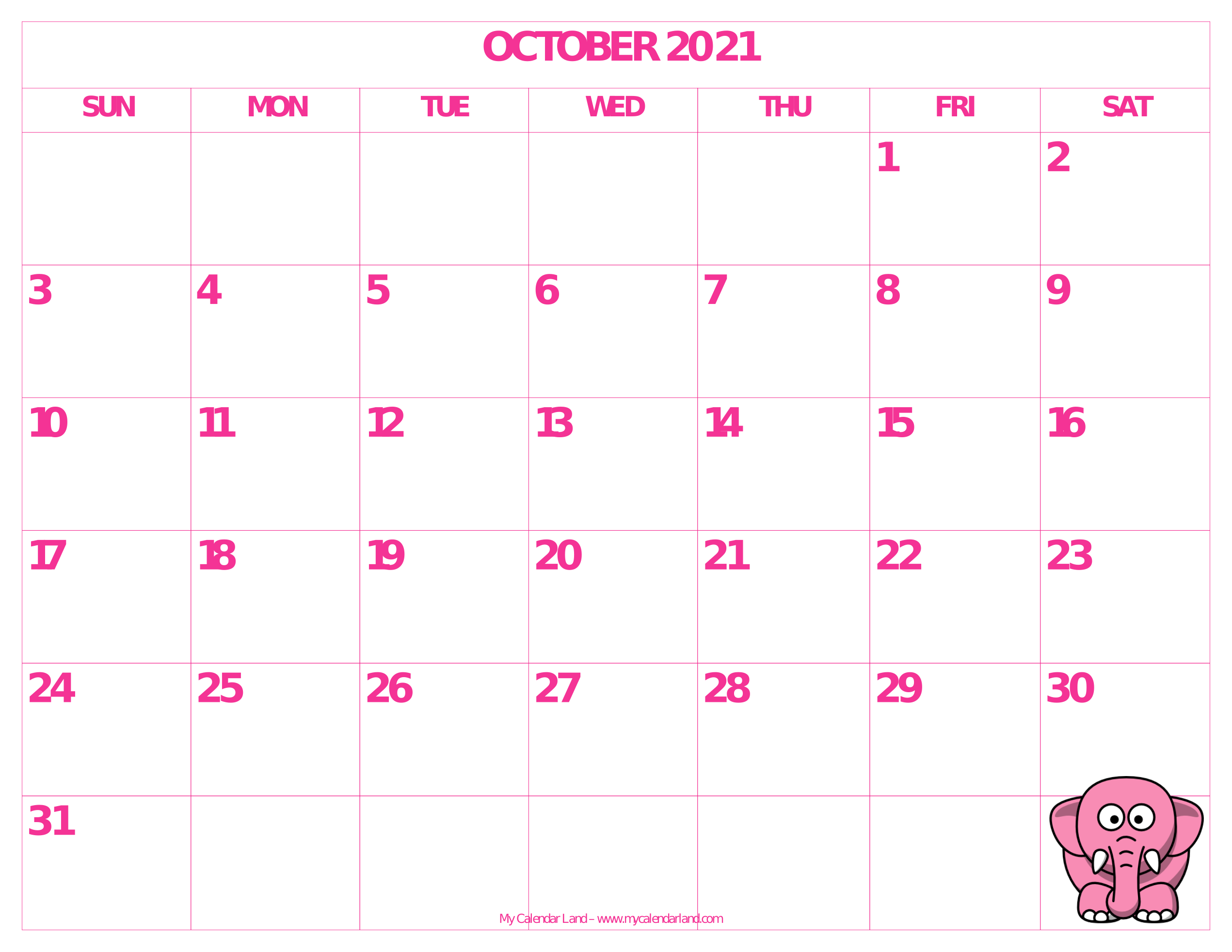 picture regarding Free Printable October Calendars referred to as Oct 2019 Calendar - My Calendar Land