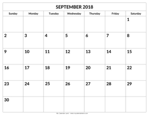 blank calendar pages 2018 september c