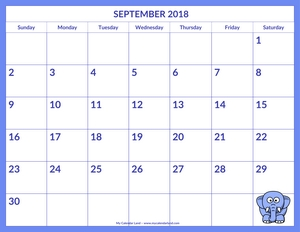 cute printable calendar september 2018 c