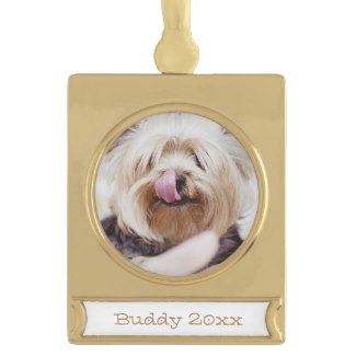 gold plated christmas dog ornament