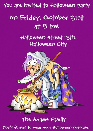 purple custom halloween party invitations witch