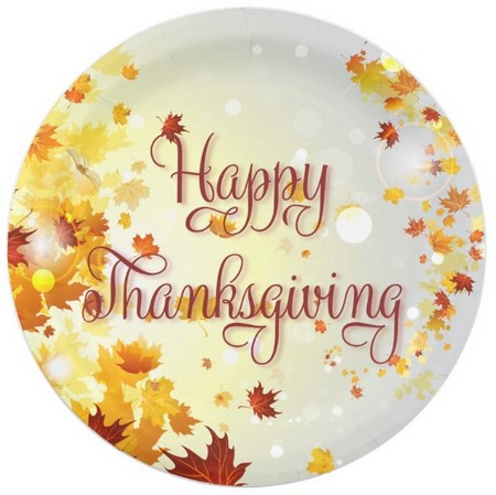 thanksgiving paper plates with fall leaves