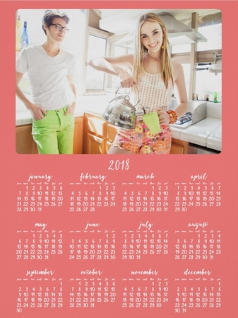 add photo coral poster yearly 2018 calendar
